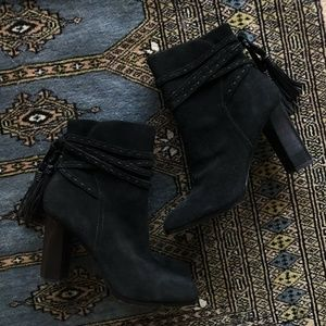 New Saks Fifth Ave Black Code Suede Ankle Booties